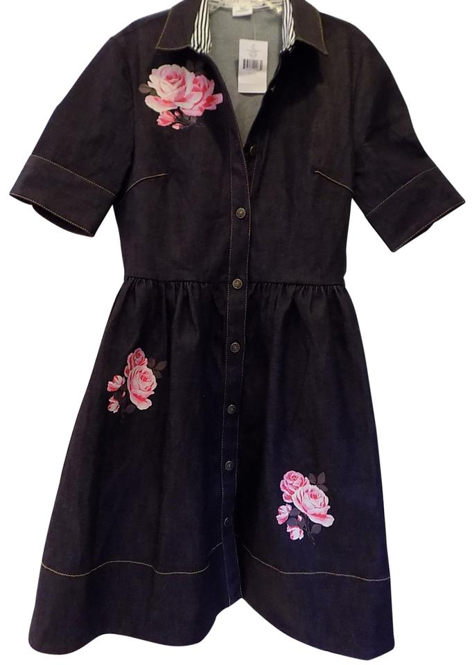 e4fa9cdc8f Kate Spade Indigo Pink Rose Denim Shirtdress Short Casual Dress Size ...