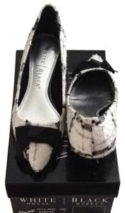 White House | Black Market Pointed Toe Tweed Low Heel Cream, Grey, Black Mules