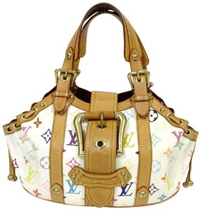 88fe3f2918e6 Louis Vuitton Theda Pm Monogram Color Leather Vintage Tote in Multi White