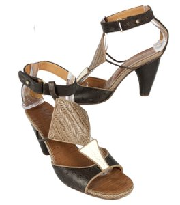 Chie Mihara Embossed Leather T Strap Open Toe Heels Brown White Pumps