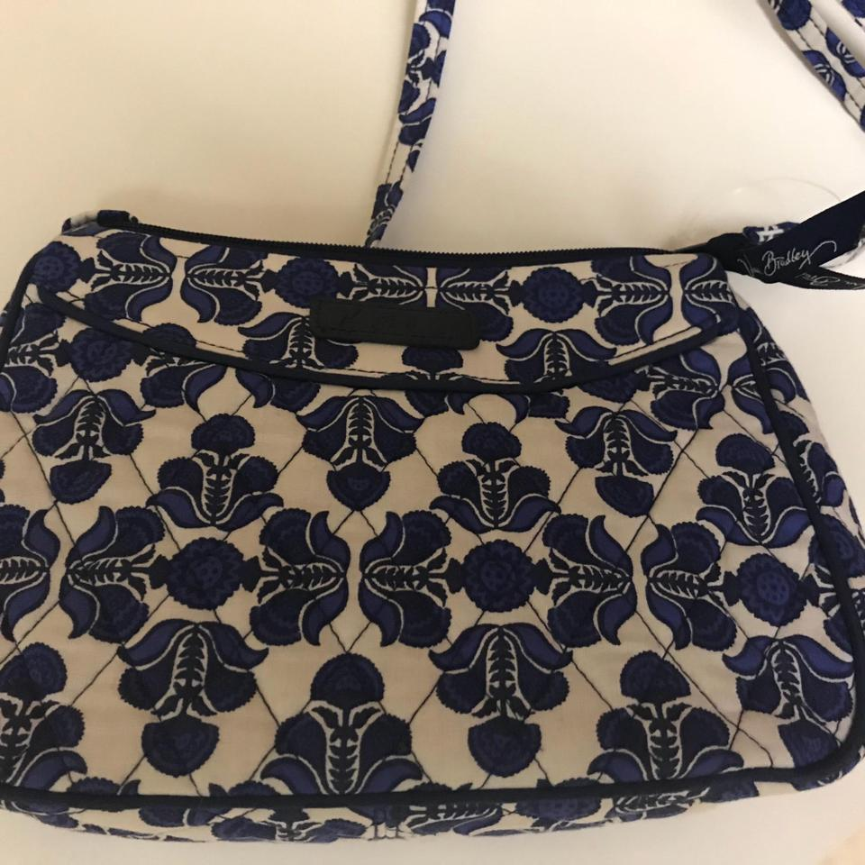 7d26aeb44354 Vera Bradley Blue White Flower Print Cotton Shoulder Bag - Tradesy