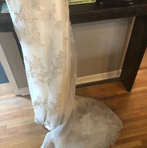 Maggie Sottero White Satin and Lace. Beaded. Sexy Wedding Dress Size 8 (M)