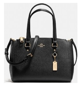Coach Leather Crossbody Shoulder Satchel in Black/Gold