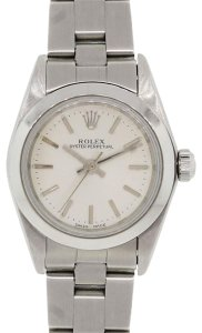 Rolex Rolex 76080 Oyster Perpetual Ladies Silver Stick Dial Ladies Watch