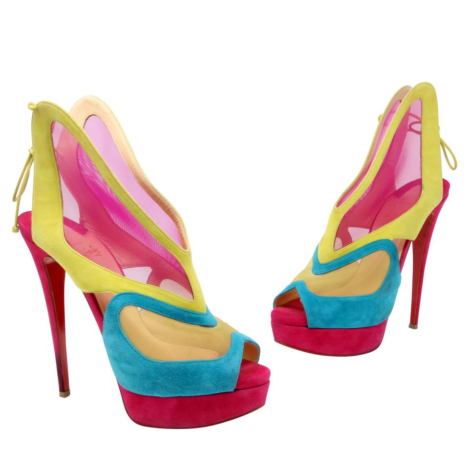 6003c3f23cc8 Christian Louboutin Pink  farfamesh  Suede Leather Red Sole Butterfly Mesh  Bootie Platforms