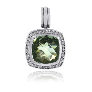 David Yurman David Yurman Sterling Silver Diamond and Prasiolite Pendant