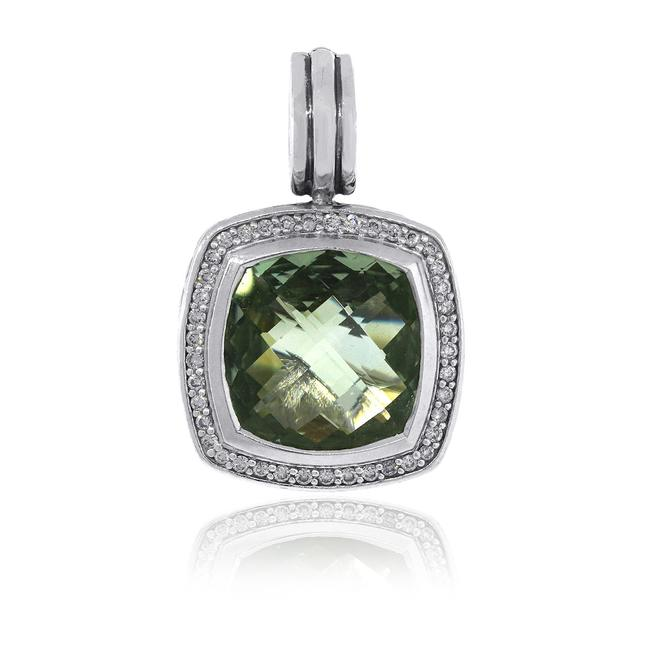 Item - White Green Sterling Silver Diamond and Prasiolite Pendant