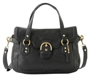 Coach Business Leather Crossbody Shoulder Satchel in Black/Gold