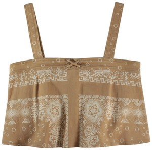 Timo Weiland Crop Boho Printed Top Tan, White