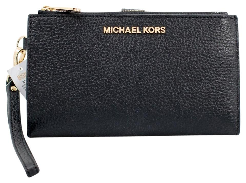 d6da864c45d7 Michael Kors Black Jet Set Travel Double-zip Iphone 7 Plus Wristlet Wallet