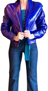 Bottega Veneta Italian Blue Leather Jacket