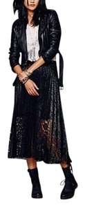 Free People Lace Sheer Pleated Maxi Skirt black