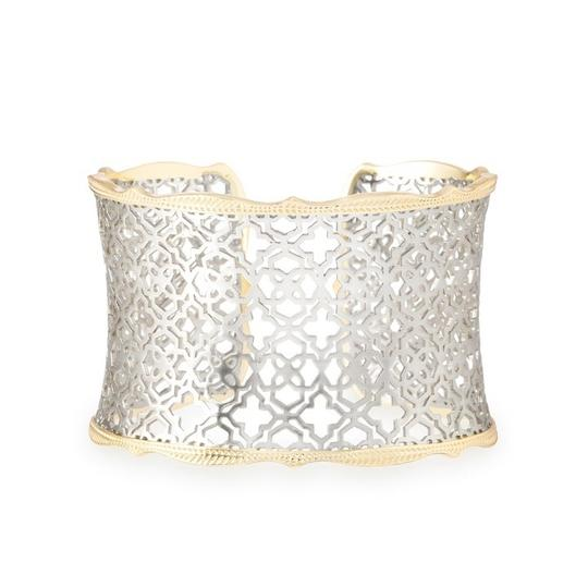 Kendra Scott Candice Gold Cuff in Silver Filigree and Dawn Medallion Earrings