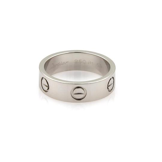Cartier Love Platinum 5.5mm Wide Band Ring Size 53 US 6.5 w/Cert.