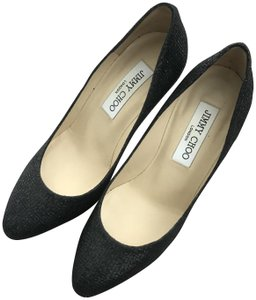 Jimmy Choo Stiletto Black Glitter Fabric Pumps
