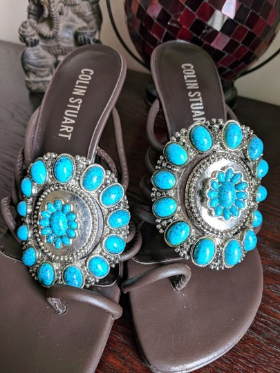 Colin Stuart BROWN WITH TEAL STONES Pumps