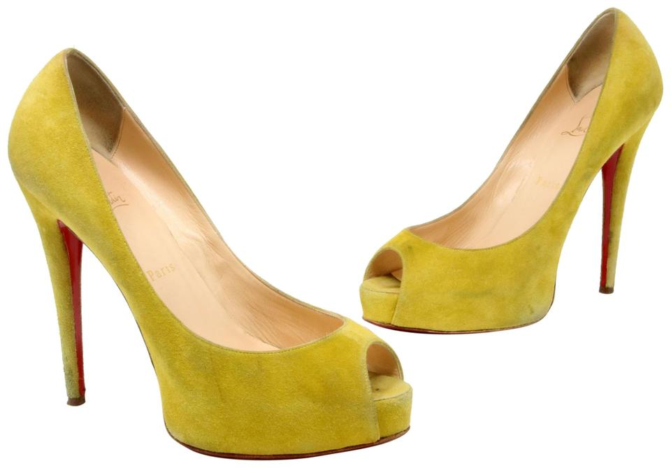 8296ba96e40 Christian Louboutin Yellow Chartreuse Suede 'very Prive' Peep-toe Red Sole  Pumps Platforms Size US 10 Regular (M, B) 64% off retail