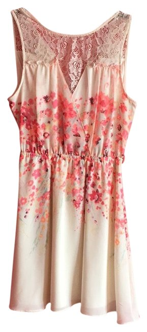 Preload https://img-static.tradesy.com/item/23545036/candie-s-cream-and-pink-cute-mid-length-short-casual-dress-size-8-m-0-1-650-650.jpg