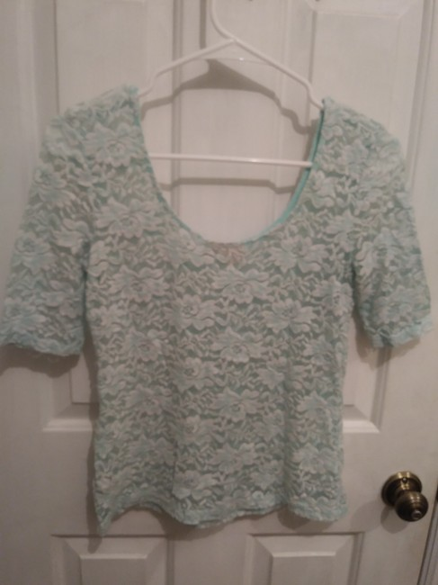 Mudd Floral Lace Scoop Back Top Turquoise