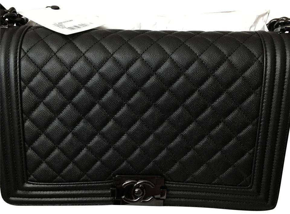 3f8194d2f80a Chanel Boy So Medium/Large Black Leather Shoulder Bag - Tradesy