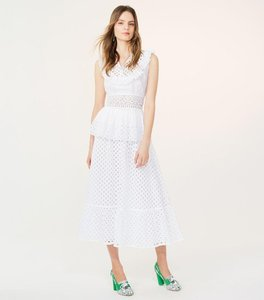 Tory Burch Summer Eyelet Ruffle Skirt white