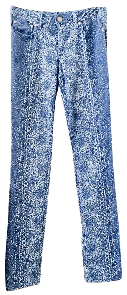 fca6a64039c Tory Burch White Blue Ivy Super Skinny Straight Leg Jeans Size 2 (XS ...