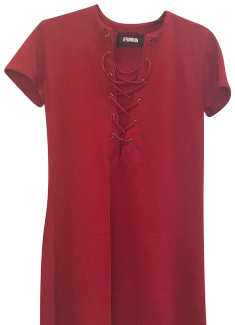 Preload https://img-static.tradesy.com/item/23545111/reformation-red-front-cris-cross-tie-short-casual-dress-size-4-s-0-1-650-650.jpg