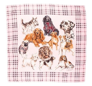 Burberry BURBERRY LONDON PINK SILK DOG SCARF WRAP CHECK NOVA