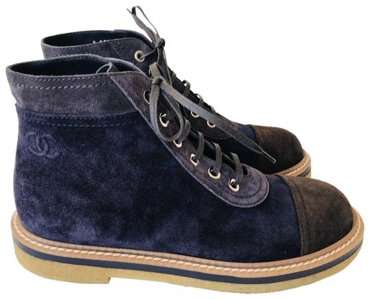 Preload https://item4.tradesy.com/images/chanel-blue-navy-dark-brown-cap-toe-suede-lace-up-ankle-combat-bootsbooties-size-eu-375-approx-us-75-23545143-0-1.jpg?width=440&height=440