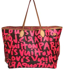 Louis Vuitton Artsy Speedy Ebene Azur Damier Tote in Neon Pink Monogram Graffiti