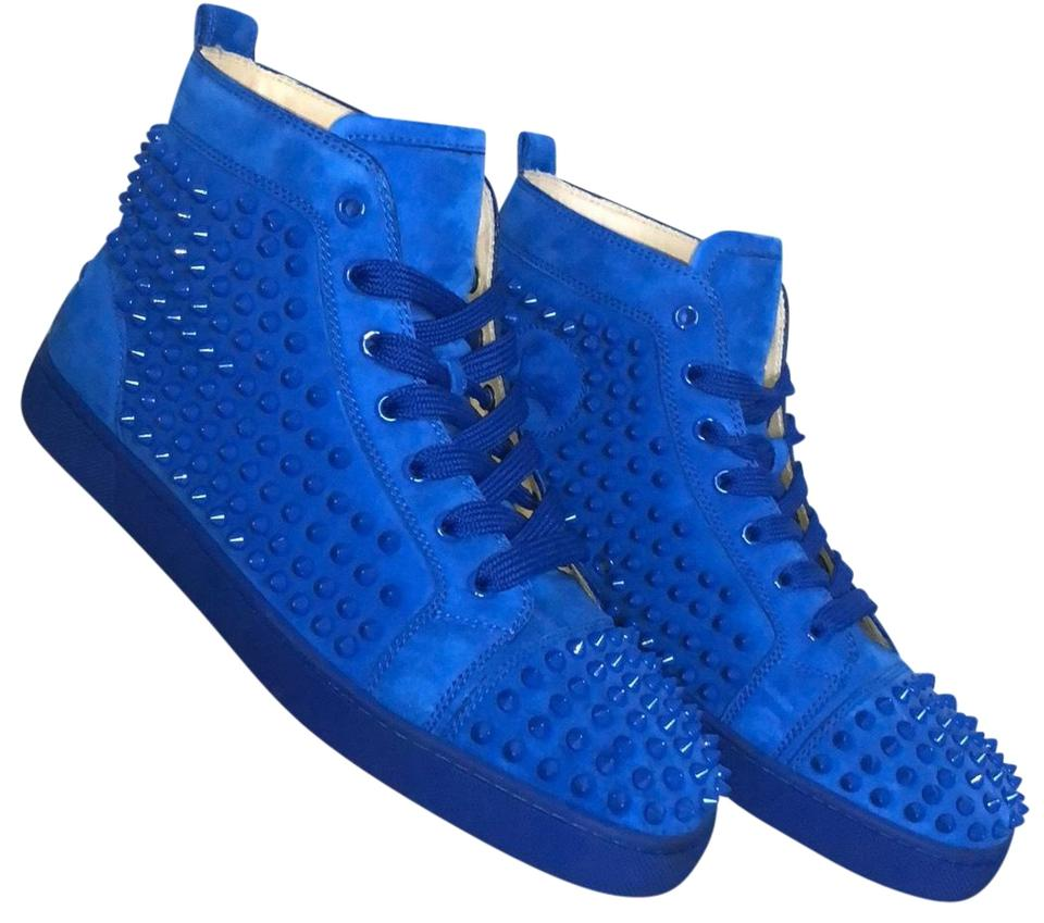 f02ca95616d Christian Louboutin Electric Blue Louis Flat Suede Spikes Sneakers ...