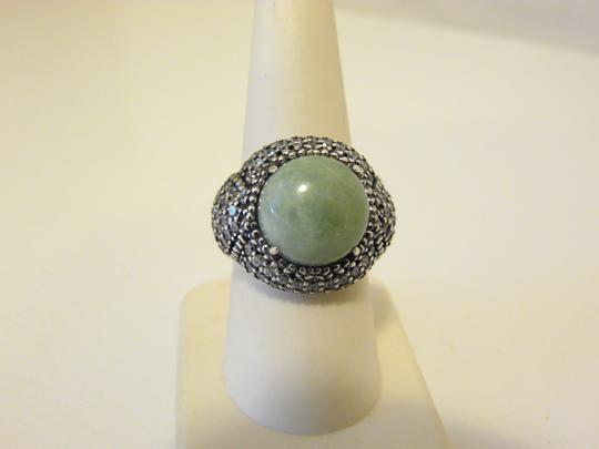 Jade of Yesteryear Jade Green Round and CZ Sterling Ring 8