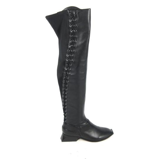BCBGMAXAZRIA Lace Up Leather Over The Knee Black Boots