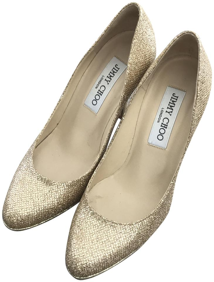 d0c963870259 Jimmy Choo Gold Glitter Fabric Aimee Pumps Size EU 35 (Approx. US 5 ...