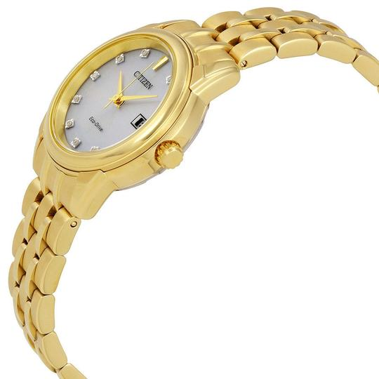 Citizen Diamond Silver Date Dial Gold Tone Ladies Watch