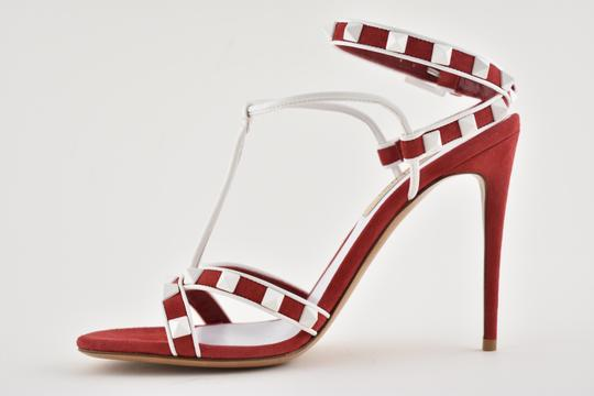 Valentino Rockstud Studded Stiletto Sandal Ankle Strap red Pumps