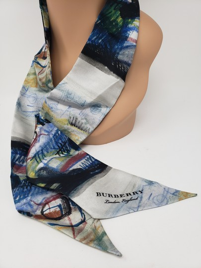Burberry Taupe black multicolor Burberry monogram printed silk twilly