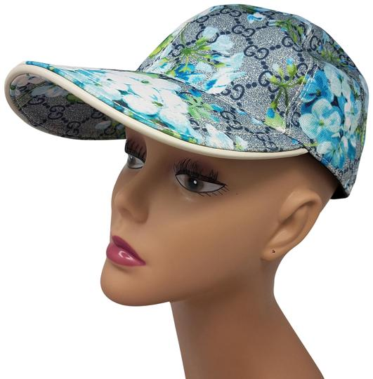 Gucci Blue, green Gucci GG Blooms leather-trimmed hat M sz
