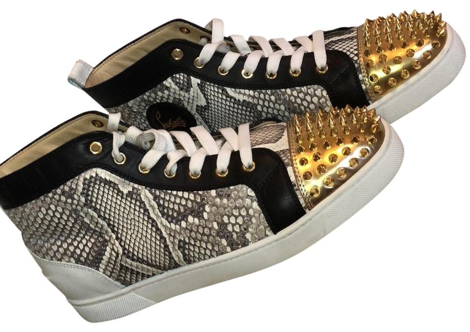 6cde76e7cc35 Christian Louboutin Version Multi. Gold. Black. White. Lou Spikes Flat  Python Luminor Calf Sneakers