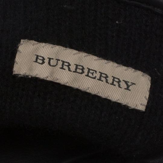 Burberry Black Check Print Leather and Wool Gloves