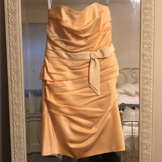 Alfred Angelo Yellow Polyester Shell Cotton Lining Short Strapless Sunshine Feminine Bridesmaid/Mob Dress Size 6 (S)