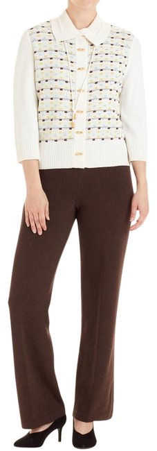 Preload https://img-static.tradesy.com/item/23545579/st-john-bright-white-and-brown-sport-knit-top-s4-75739-pant-suit-size-4-s-0-2-650-650.jpg
