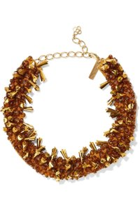 Oscar de la Renta OSCAR DE LA RENTA Gold-tone bead and satin necklace