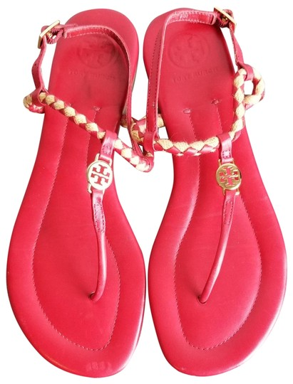 Preload https://img-static.tradesy.com/item/23545626/tory-burch-red-gold-sandals-size-us-85-regular-m-b-0-1-540-540.jpg
