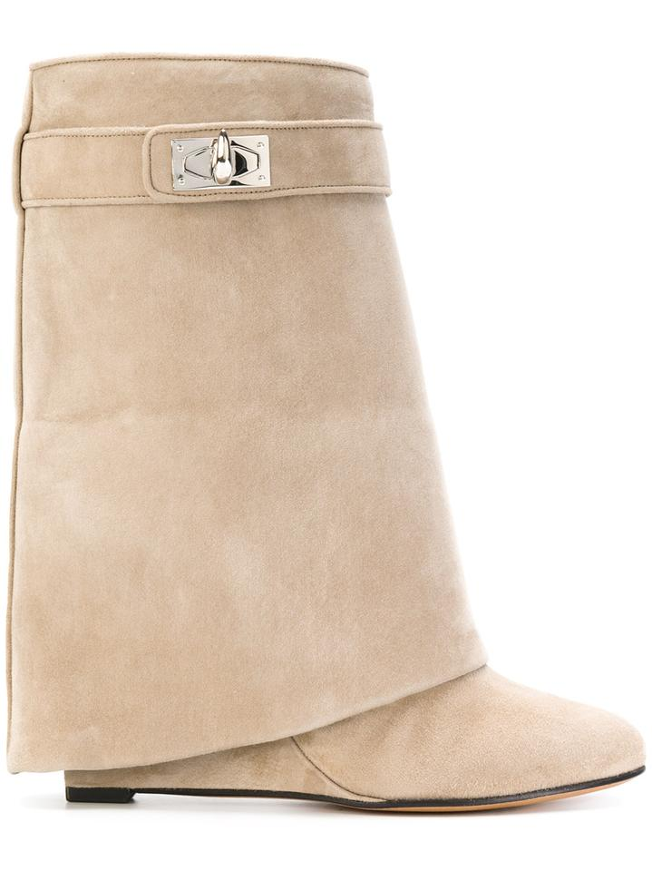 11e97aa00d1a Givenchy Beige Camel Suede Shark Tooth Lock Foldover Wedge Heel Boots  Booties