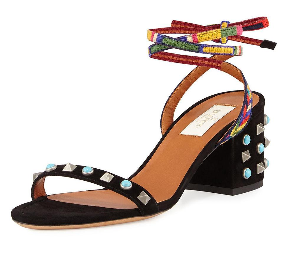 376e7c24e72a Valentino Black Garavani Rockstud Rolling Embroidered 60mm City Suede  Leather Heel Sandals