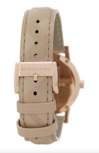 Burberry Swiss The Classic Round Trench Check-Embossed Leather Strap Watch 34mm