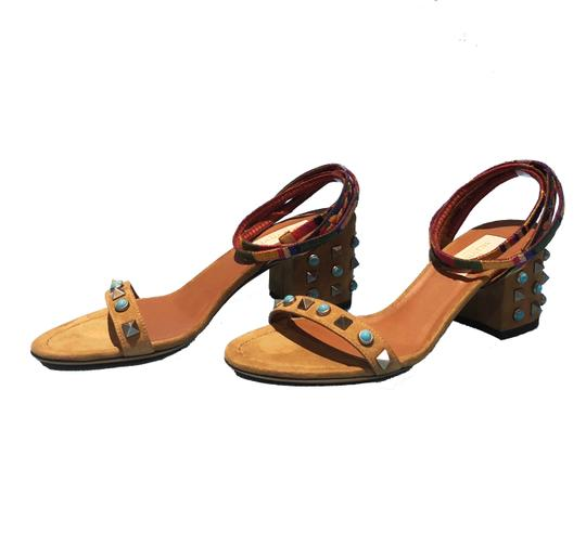Valentino Made In Italy Luxury Designer Rockstud Embroidered Stud Trim Sand (Camel) Sandals