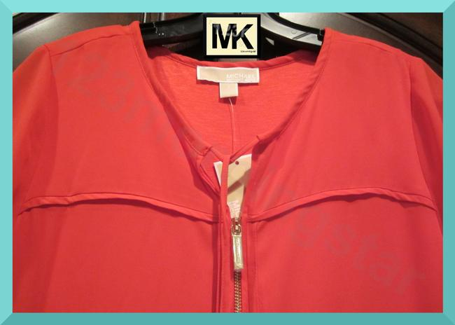 MICHAEL Michael Kors Drawstring Y-neck Signature Cubes Gold Front Zip Semi-sheer Sleeves Backtail Hem Top Coral