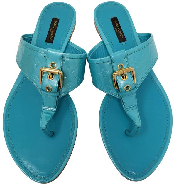 Item - Blue Gold Turquoise Debossed Monogram Patent Leather Sandals Size EU 39 (Approx. US 9) Regular (M, B)